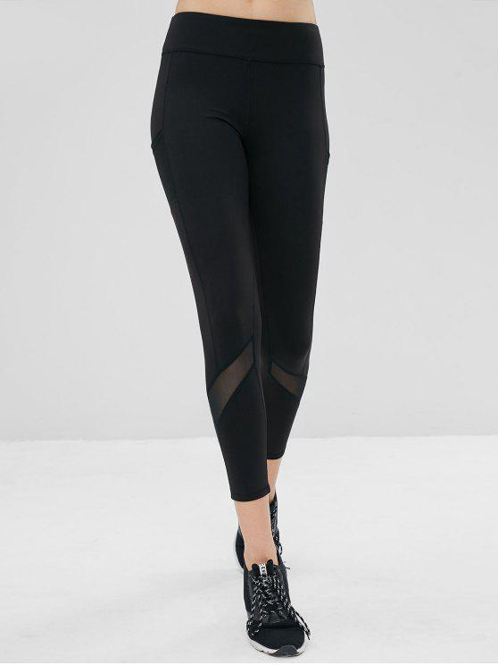 outfits Mesh Pockets Compression Sports Leggings - BLACK S
