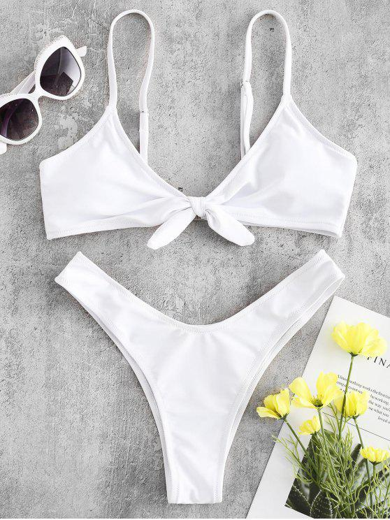 affordable Low Waisted Front Knot Bikini - WHITE S
