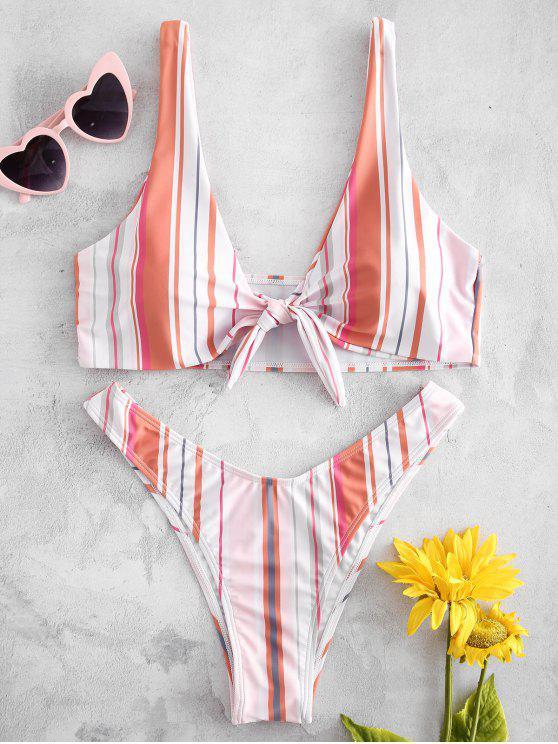 Plunge Front Knot Stripe Bikini - Rosa Claro L