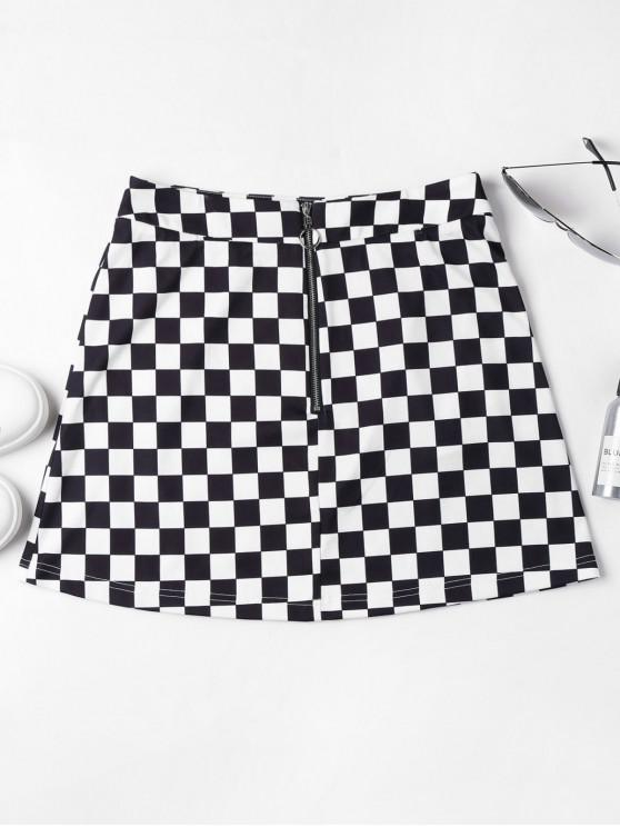 fancy Zip Front Checkered Skirt - BLACK M