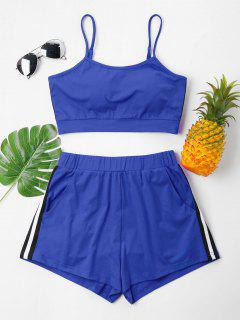 Contrast Cami Top And Shorts Set - Blueberry Blue M