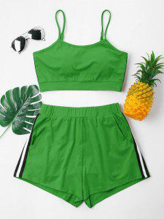 Contrast Cami Top And Shorts Set - Clover Green L