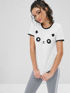 Panda Graphic Ringer Tee - White M