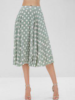 Chiffon Pleated Polka Dot Midi Skirt - Green Peas L