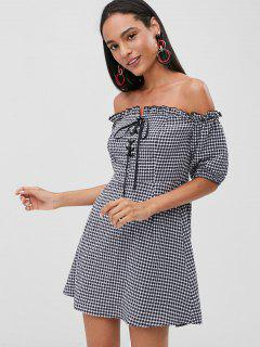 Lace Up Gingham Dress - Dark Slate Blue M