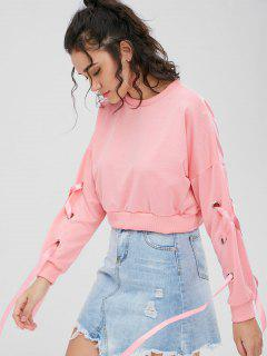 Sweat-shirt Court Rubans Entrecroisé - Rose Flamant S