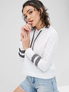 Raglan Sleeve Contrasting Hoodie - White M