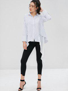 Asymmetrical Stripes Longline Shirt - White Xl