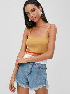 Contrast Knitted Cami Top - School Bus Yellow S