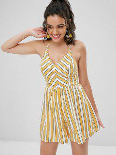 Striped Cross Back Cami Romper - Multi S