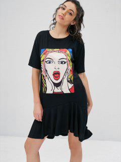 Beauty Print Graphic Oversized T-Shirt Dress - Black M