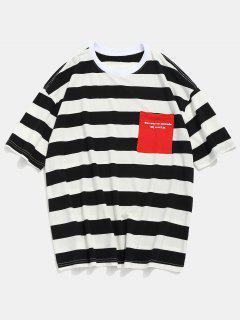 Slogan Pocket Striped Print T-shirt - Black L
