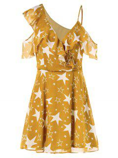 V Neck Ruffles Star Dress - Bee Yellow L