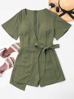 Low Cut Overlap Romper - Army Green S