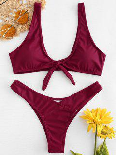 Bunny Tie Front Bikini Top And Bottoms - Red Wine L