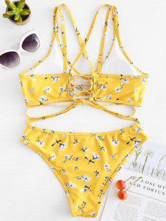 Schnürung Bikini Mit Blumenmuster - Niedliches Gummi Gelb L