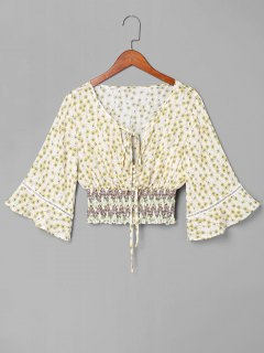 Smocked Blumen Schleife Bluse - Weiß L
