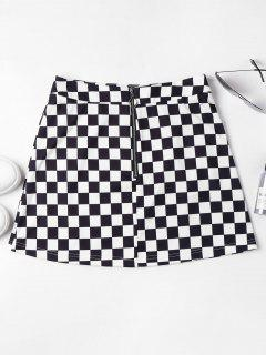 Zip Front Checkered Skirt - Black S