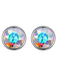 Shiny Crystal Silver Round Stud Earrings - Silver
