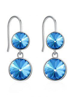 Shiny Crystal Round Wedding Anniversary Earrings - Butterfly Blue