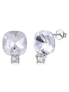 Shiny Rhinestone Square Crystal Silver Stud Earrings - White