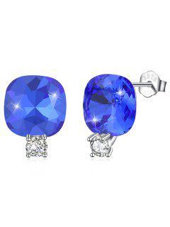 Shiny Rhinestone Square Crystal Silver Stud Earrings - Royal Blue