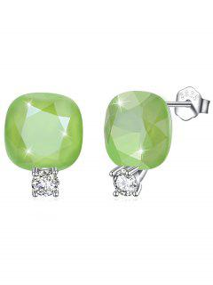 Shiny Rhinestone Square Crystal Silver Stud Earrings - Pistachio Green