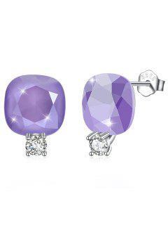 Shiny Rhinestone Square Crystal Silver Stud Earrings - Medium Purple