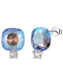 Shiny Rhinestone Square Crystal Silver Stud Earrings - Coral Blue