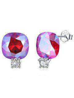 Boucles D'Oreilles Clous En Argent Motif Carré En Strass Brillants - Rouge Rose