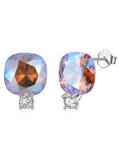 Shiny Rhinestone Square Crystal Silver Stud Earrings - Silver