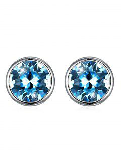 Shiny Crystal Silver Round Stud Earrings - Butterfly Blue