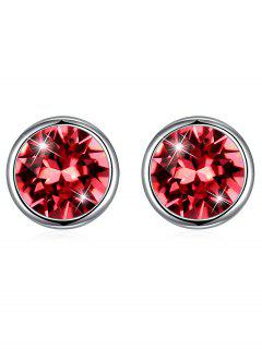 Shiny Crystal Silver Round Stud Earrings - Orange Pink