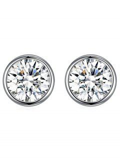 Shiny Crystal Silver Round Stud Earrings - White