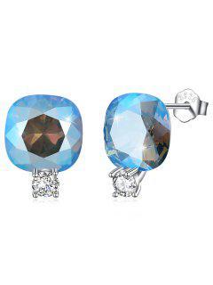 Boucles D'Oreilles Clous En Argent Motif Carré En Strass Brillants - Bleu Léger