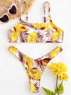 Blatt Druck Bralette Bikini Set - Multi L