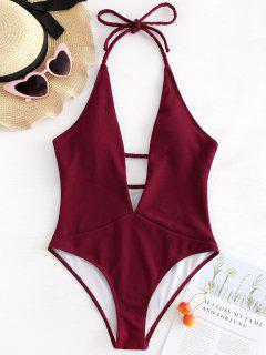 Ribbed Plunge Neckline Plaited Swimwear - Red Wine M