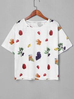 Camiseta Con Cuello Redondo De Fruta - Blanco L