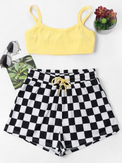 Checkered Cami Shorts Set - Yellow S