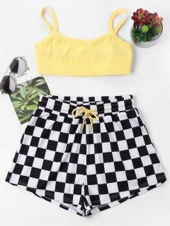 Checkered Cami Shorts Set - Yellow M