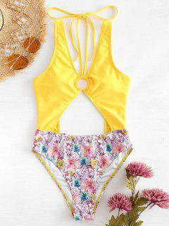 Low Back Floral High Cut Swimsuit - Rubber Ducky Yellow L
