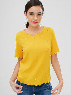 Beaded Scalloped Textured Top - Yellow M