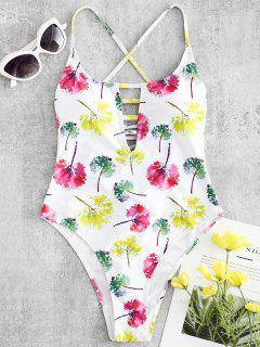 Lace-up Leaves Print High Cut Swimsuit - White S