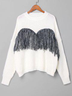 Suéter Con Flecos Y Hombros Caídos - Blanco