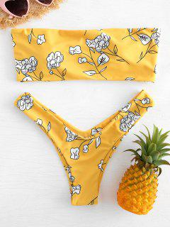Conjunto De Bikini Palabra De Honor Con Estampado De Flores - Caucho Ducky Amarillo S