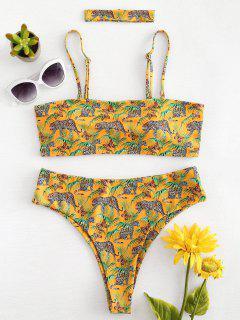 High Cut Leopard Choker Bikini - Bright Yellow M