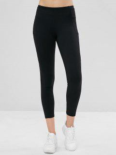 Compression Sports Leggings With Pockets - Black L