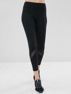 Mesh Pockets Compression Sports Leggings - Black M