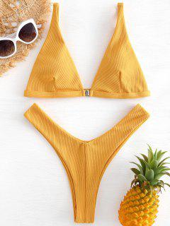 Textured Tiefer Bikini Top Und Thong Badehose - Senf L