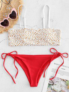 Ensemble Bikini Bandeau Avec Attache Sur Le Côté  - Rouge Amour S